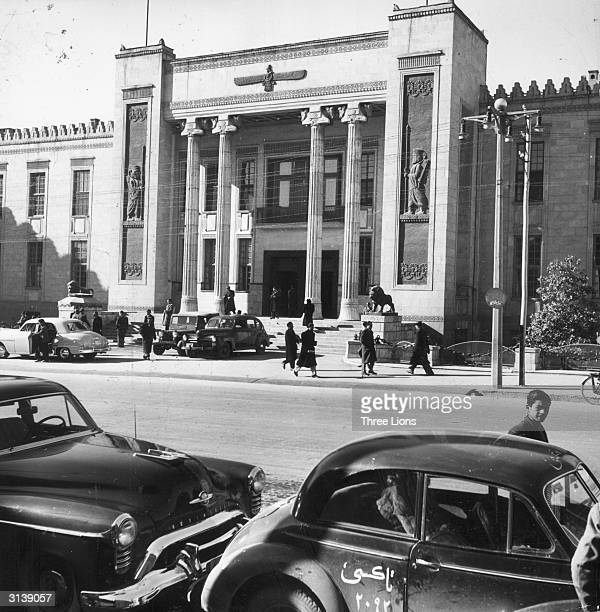 The Melli bank which is the centre of foreign commerce in Teheran Persia The architecture is modern though the relief figures on the front are of...