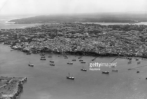 The old harnour at Mombasa at the height of the Dhow season.