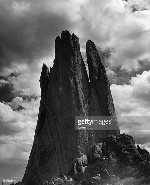 The rocky crag known as the Tower of Babel located at the north end of the Garden of the Gods near Colorado Springs Colorado
