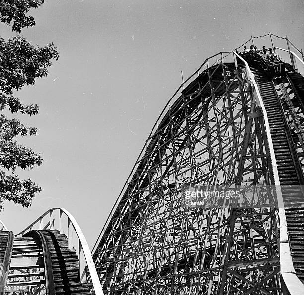 The rollercoaster begins a descent at Palisades Park New Jersey