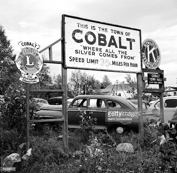 The town boundary of Cobalt in Ontario a booming mining camp in 1904 and now revitalised