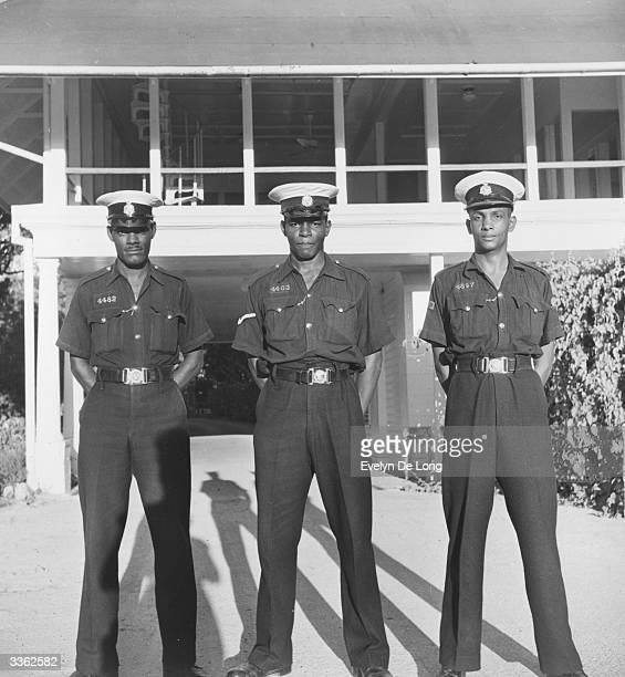Three guards in front of the governor's residence in Georgetown British Guiana