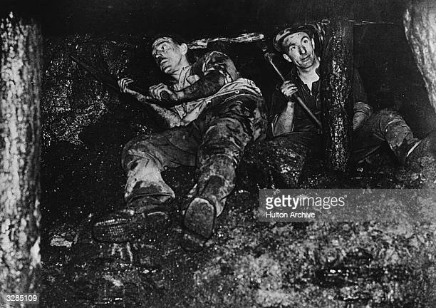 Welsh miners at work in a coal mine