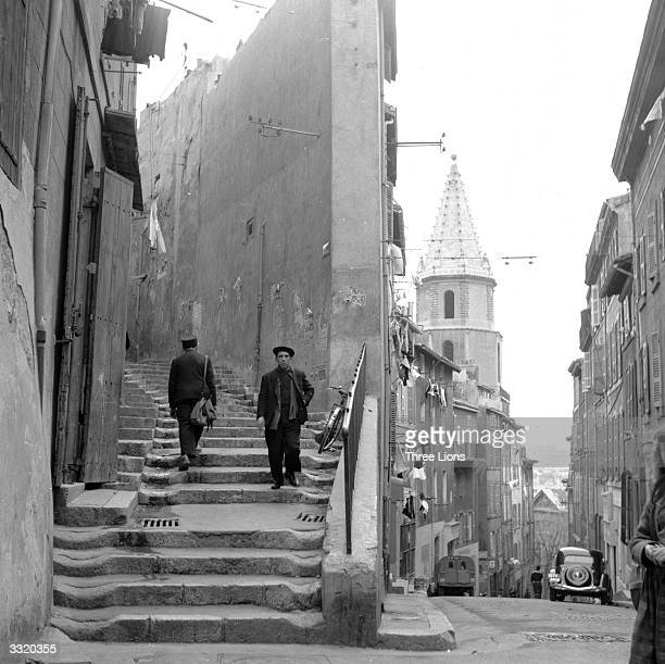 Worn old stone steps in the redlight district of old Marseilles