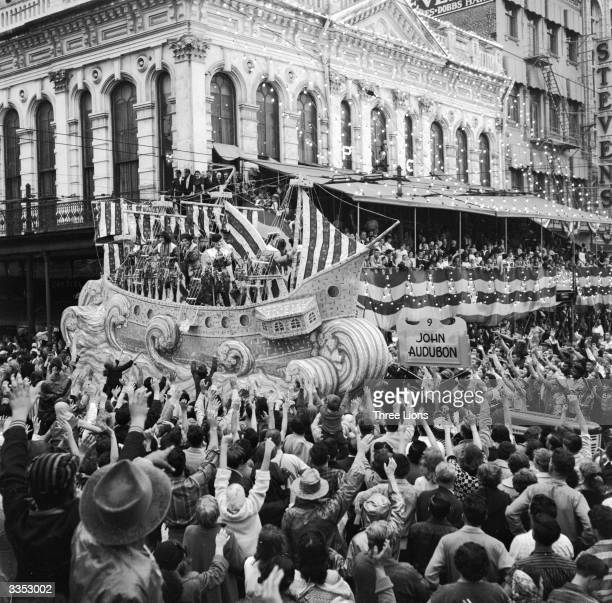 A float celebrating the life of John James Audubon an American naturalist ornithologist and artist at the New Orleans Mardi Gras in Louisiana