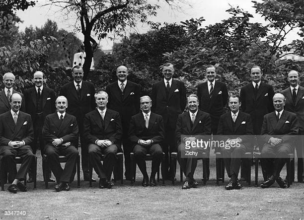 Members of the 1952 Conservative cabinet Seated fourth from left is Prime Minister Sir Anthony Eden and on his left is Edward Heath Chief Whip