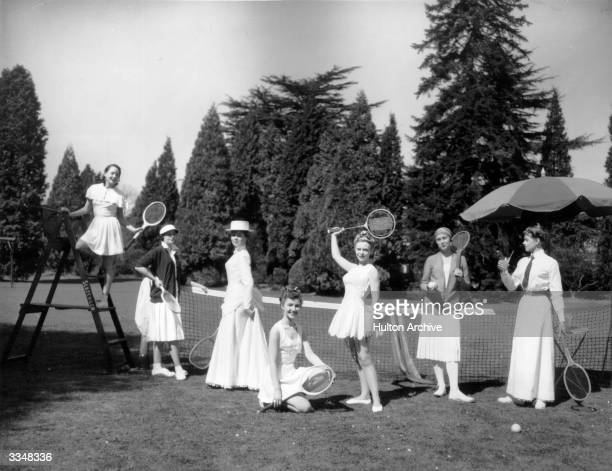 Wimbledon Tennis fashion history represented by seven models wearing sportswear designed by Teddy Tinling From right to left Gerda Larsen as Dorothea...