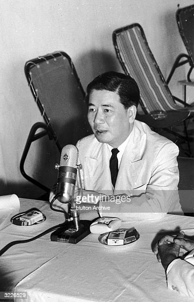 South Vietnamese President Ngo Dinh Diem speaks at a press conference