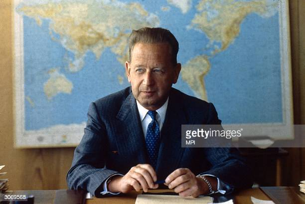 Swedish politician and diplomat Dag Hammarskjold , he died in an aircrash in Zambia while Secretary General of the United Nations.