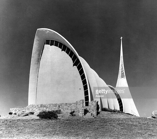The exterior of the unique Immanuel Lutheran Church at Broken Arrow Oklahoma designed by architect William Henry Ryan