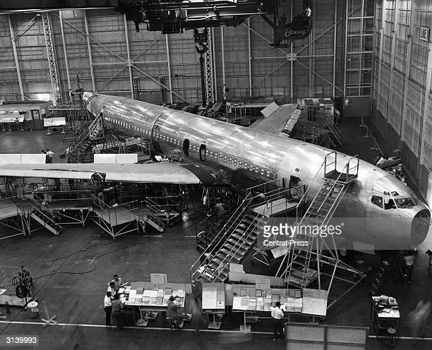 The Boeing 707 Jet Stratoliner Number One under construction at Boeing's Transport Division in Renton Washington