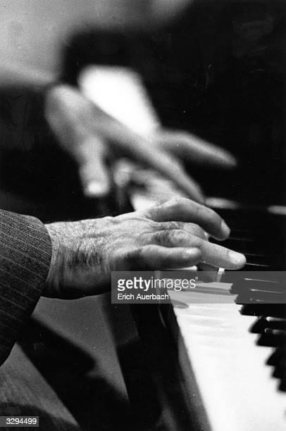 A closeup of the hands of the Russianborn US pianist Shura Cherkassky