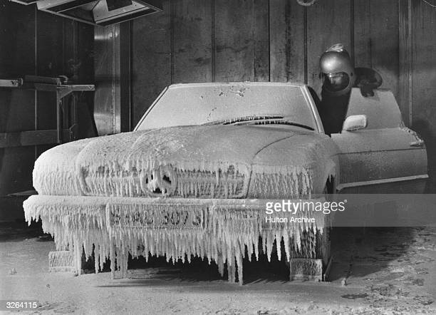 A DaimlerBenz car undergoes testing in wintry conditions at a climatic centre in StuttgartUnterturkheim Germany