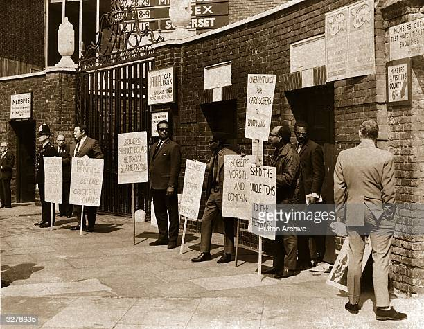 Group of anti-apartheid protesters at the Oval Cricket Ground in London.