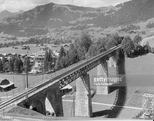 A railway bridge spanning a valley on the Gstaad to Saanen railway Austria