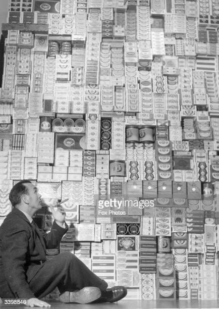 A stack of over four hundred different brands of cigars in their boxes at a tobacco exhibition in Copenhagen