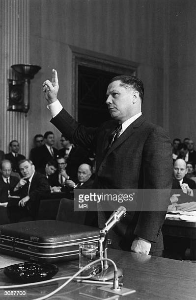 American union leader, Jimmy Hoffa appearing before a senate committee.The leader of the International Brotherhood of Teamsters, he went to jail for...