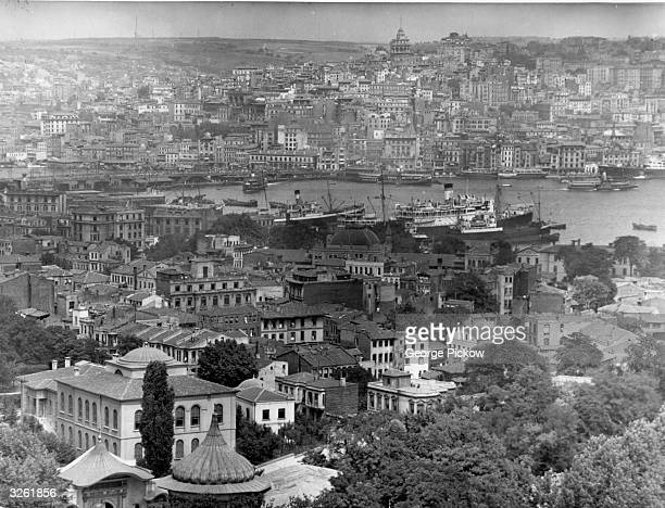 Capital of Turkey the old walled town of Istanbul on the Bosphorus River looking towards the Golden Horn It is the only city in the world to be built...
