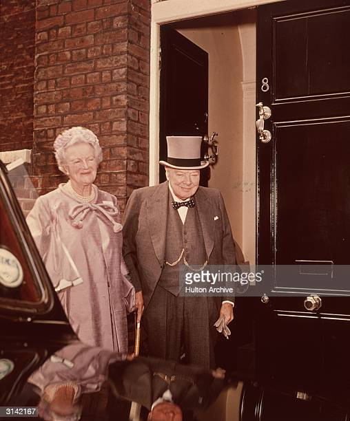 Former British prime minister Sir Winston Churchill and his wife Baroness SpencerChurchill of Chartwell leaving their home in London's Hyde Park