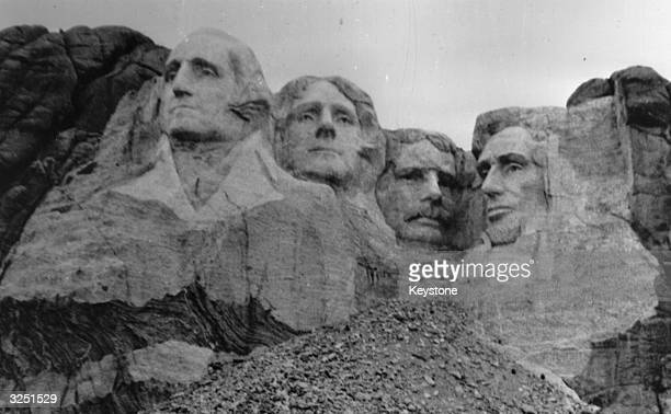 Mount Rushmore in Dakota where four presidents' faces have been sculptured out of the rocks known as the Shrine Of Democracy
