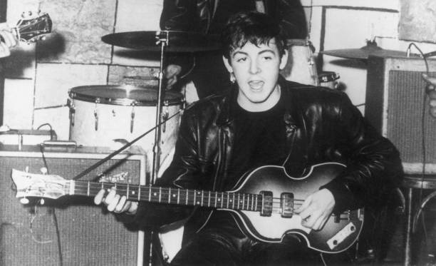 Paul McCartney on stage at the Cavern nightclub in Liverpool during the early days of British beat group The Beatles.