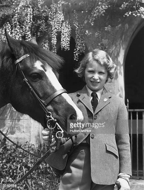 Princess Anne only daughter and second child of Queen Elizabeth and Prince Philip with her Welsh pony 'Greensleeves' at Windsor