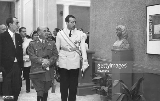 Spanish leader General Francisco Franco inaugurates a Spanish Bienal Exhibition of Art in the Retiro Park Palace Madrid