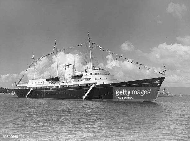 The 412 foot royal yacht Britannia, launched by Queen Elizabeth II in 1953.