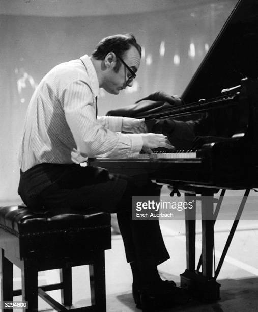 The Austrian pianist Alfred Brendel at the piano