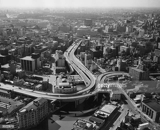 The complex network of overhead highways running through central Tokyo
