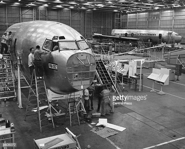 The first two Boeing 707 Stratoliner jets commissioned for Pan American Airlines at the Boeing Company plant in Renton Washington USA