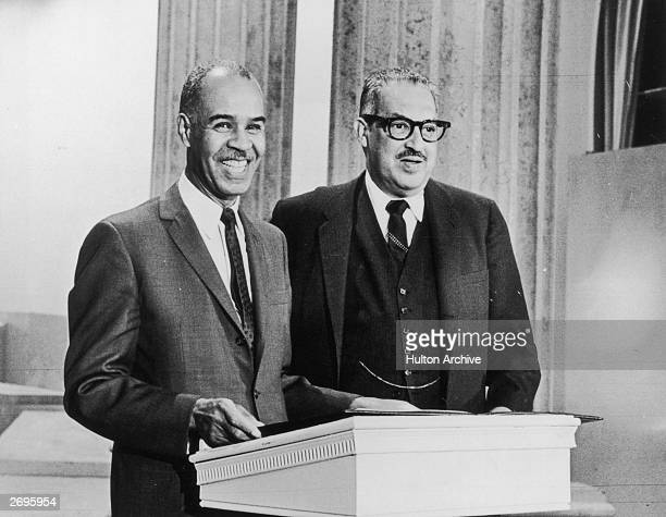 NAACP executive secretary Roy Wilkins presents the Freedom Bell Award to Federal Judge Thurgood Marshall New York City