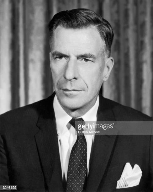 Portrait of Canadian-born author, economist and diplomat John Kenneth Galbraith.