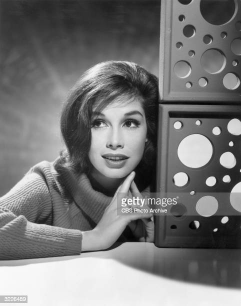 Studio headshot portrait of American actor Mary Tyler Moore wearing a sweater with a cowl neck next to a brick sculpture.