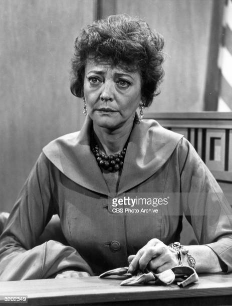 American actor Sylvia Sidney sits in a witness stand in a still from the TV show 'The Defenders,' from a two-part episode entitled 'Madman'.