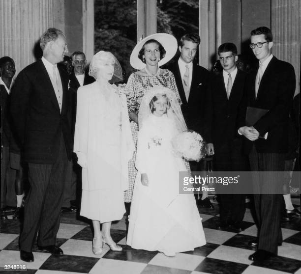 Members of the Belgian royal family at the confirmation of Princess MarieChristine Left to right Leopold III former King of Belgium Queen Elisabeth...