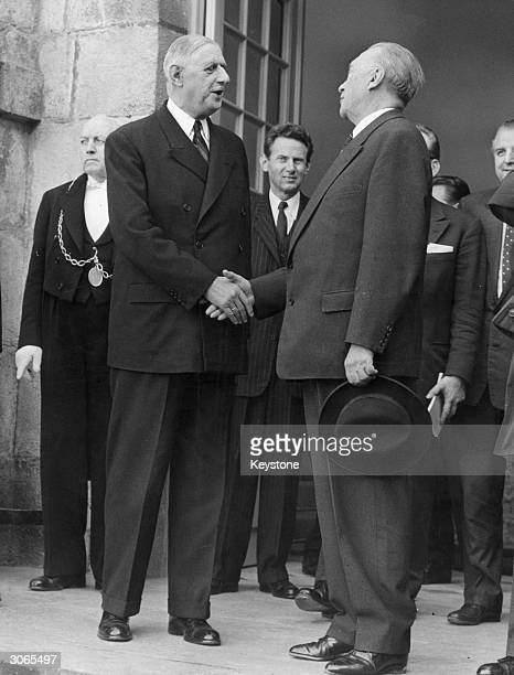 President Charles De Gaulle with German chancellor, Konrad Adenauer at a meeting at the Elysee Palace in Paris.