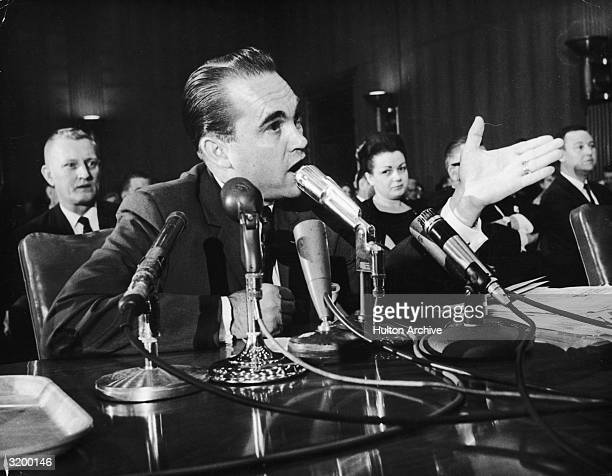 Segregationist Alabama Governor George Wallace testifies before the US Senate Commerce Committee regarding civil rights issues Washington DC