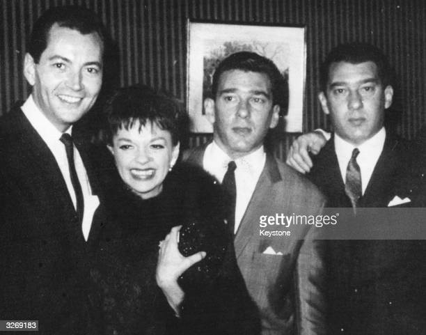 American actress Judy Garland and her husband Mark Herron visit East End gangsters the Kray twins whilst in London with Chris Allen