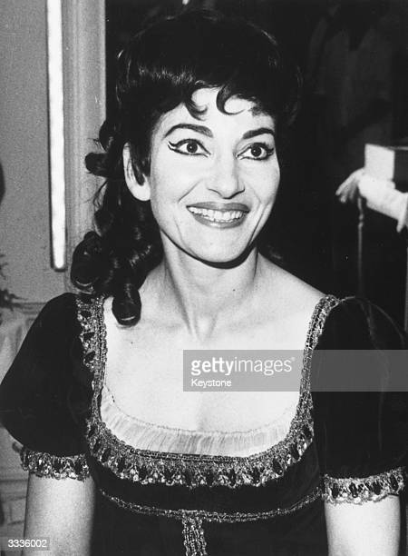 American opera singer Maria Callas during a break from a production of Tosca at the Opera de Paris