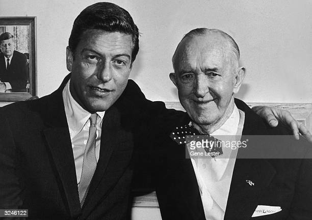 EXCLUSIVE American comedians and actors Dick Van Dyke and Stan Laurel of the Laurel and Hardy comic team pose together at the Oceana Motel in Santa...