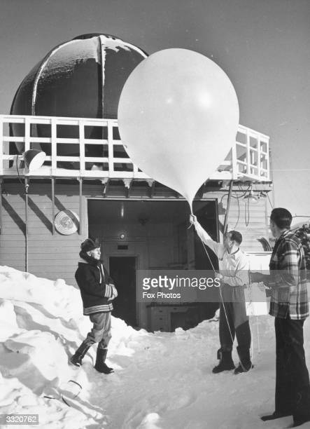 A weather balloon being released at a weather station in the Arctic