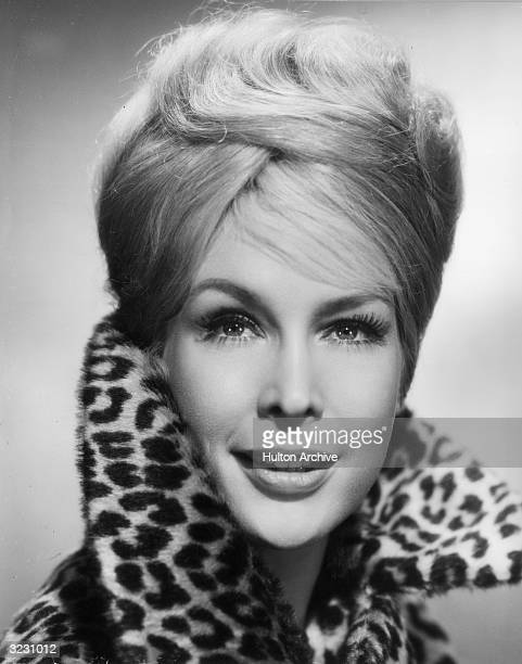 American actress Barbara Eden wearing a leopardprint fur jacket with the collar turned up Eden starred in the television series 'I Dream of Jeannie'