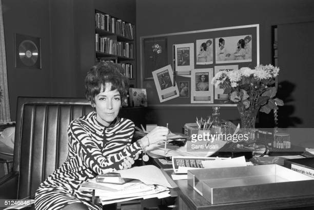 Circa 1965, American writer and magazine editor Helen Gurley Brown in her office at Cosmopolitan magazine, 1960s.
