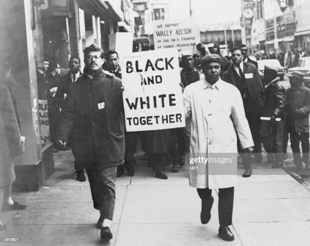 Americans demand racial equality on a civil rights demonstration.