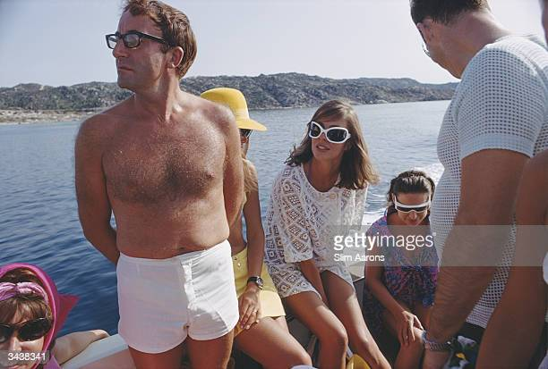 British comedian Peter Sellers holidays with Princess Margaret on the Aga Khan's yacht on the Costa Smeralda