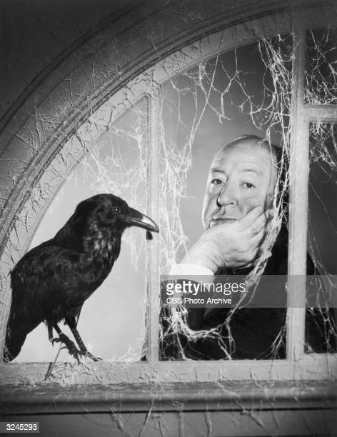 British director Alfred Hitchcock leans in front of a window covered with cobwebs next to a crow in a promotional portrait for the television show...