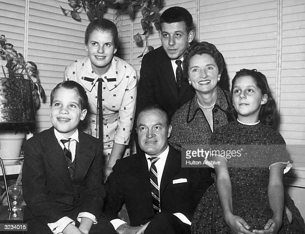 Britishborn entertainer Bob Hope and his wife American singer Dolores Hope pose with their four children Left to right Kelly Linda Anthony and Nora...