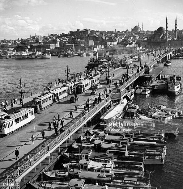 Galata Bridge the oldest bridge in the city of Istanbul which links the harbour and the two European sections of the city formed by the Golden Horn...