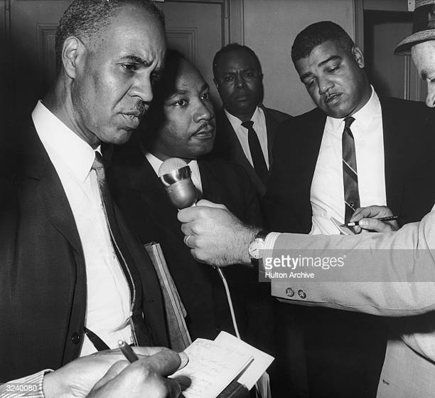 LR NAACP executive secretary Roy Wilkins Reverend Dr Martin Luther King Jr National Urban League director Whitney Young and CORE founder James Farmer...
